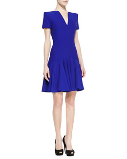 Alexander McQueen Split-V-Neck Dress with Short Sleeves, Royal Blue