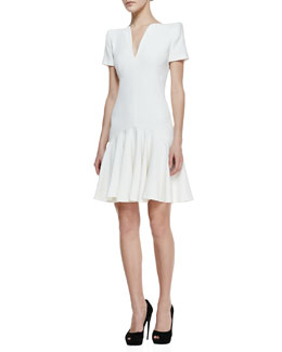 Alexander McQueen Split-V-Neck Dress with Short Sleeves, Ivory