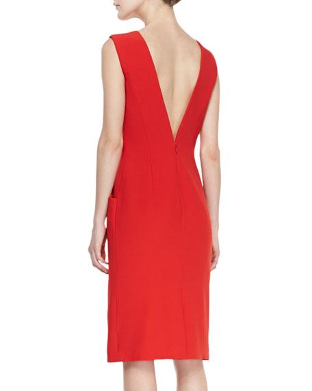 Split-V-Neck Dress with Short Sleeves, Red