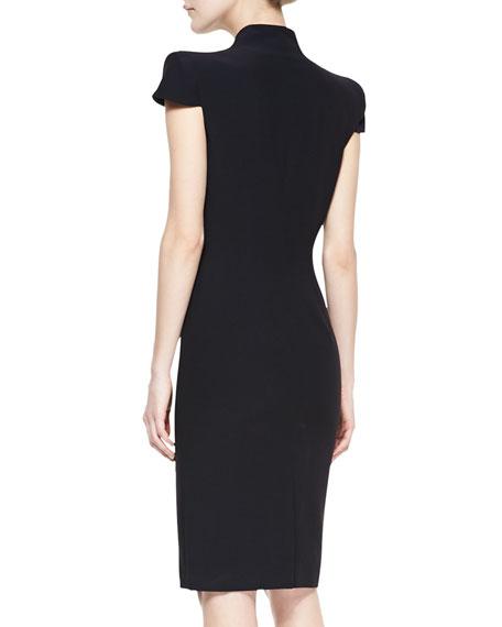 Cap-Sleeve Deep V-Neck Dress, Black