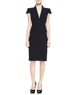 Alexander McQueen Cap-Sleeve Deep V-Neck Dress, Black