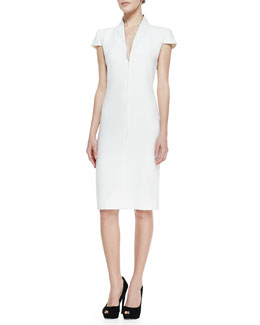 Alexander McQueen Cap-Sleeve Deep V-Neck Dress, Ivory