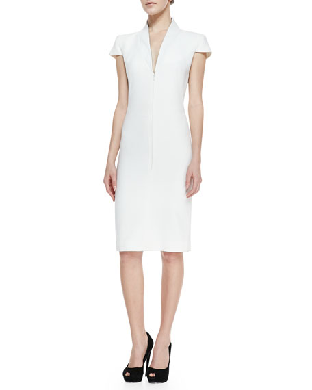 Cap-Sleeve Deep V-Neck Dress, Ivory
