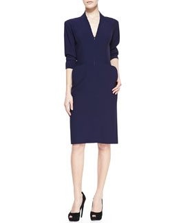 Alexander McQueen Elbow-Sleeve Deep V-Neck Dress, Navy