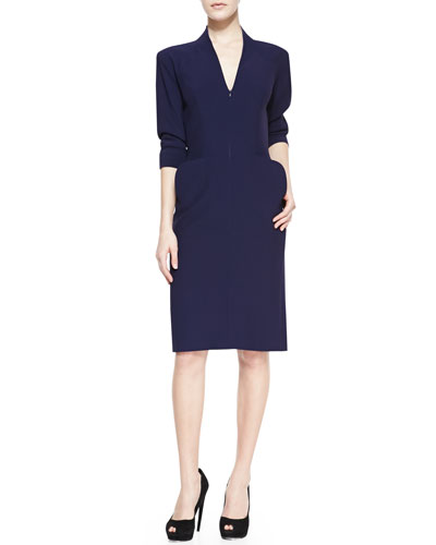 Alexander McQueen Elbow-Sleeve Deep V-Neck Dress, Navy