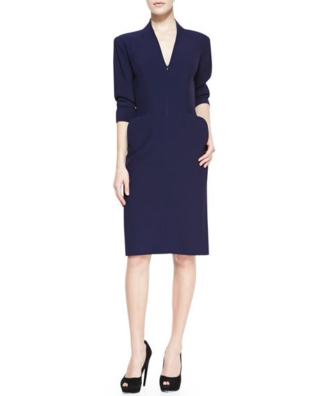 Elbow-Sleeve Deep V-Neck Dress, Navy