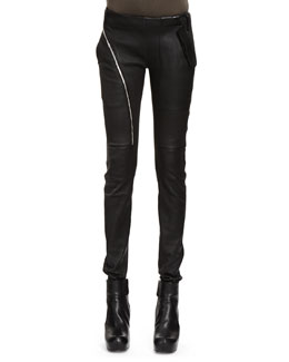 Rick Owens Air Cut Woven Leather-Cotton Leggings