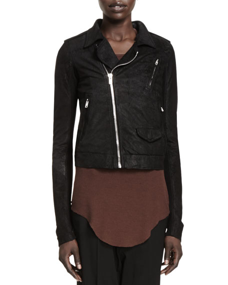 Stooges Knit-Panel Leather Jacket