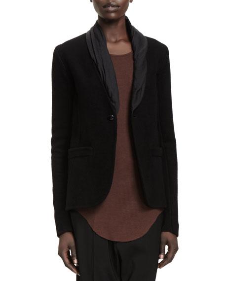 Leather-Collar Long Tuxedo Blazer