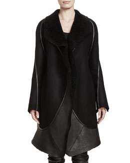 3638bb998b7 This instant Rick Owens - Stag Shearling Fur & Leather Coat - ShaisV ...