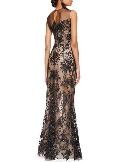 Embroidered Lace Gown, Black/Nude