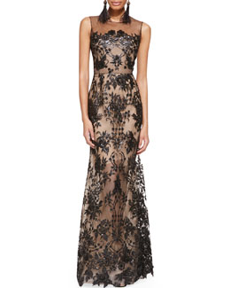 Oscar de la Renta Embroidered Lace Gown, Black/Nude