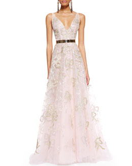 Oscar de la Renta Sleeveless Bow-Embroidered Gown