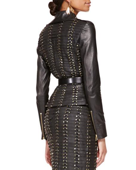 Long-Sleeve Studded Leather Jacket, Black