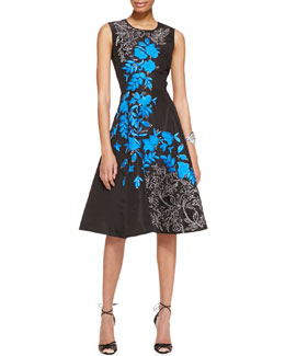 Oscar de la Renta Sleeveless Floral-Embroidered Silk Cocktail Dress, Black/Blue