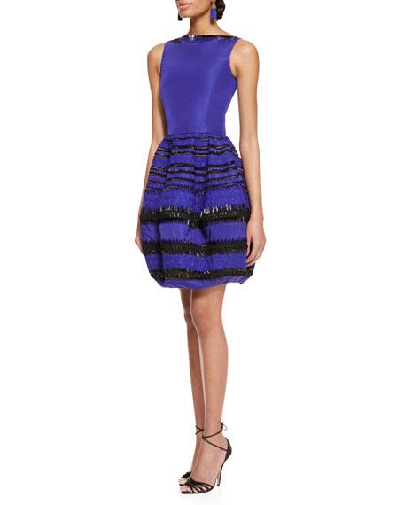 Sleeveless Beaded Bubble-Skirt Dress, Royal