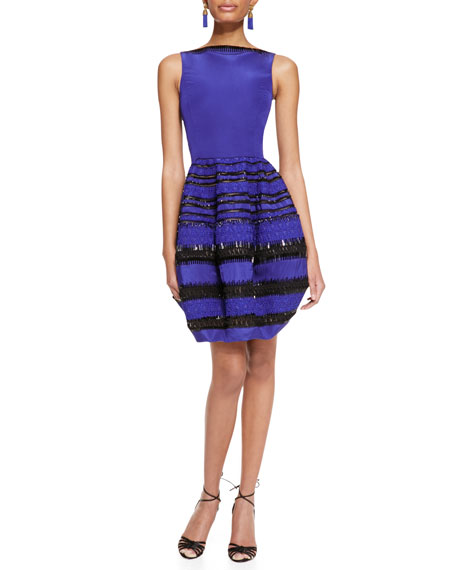 Sleeveless Beaded Bubble-Skirt Dress, Royal