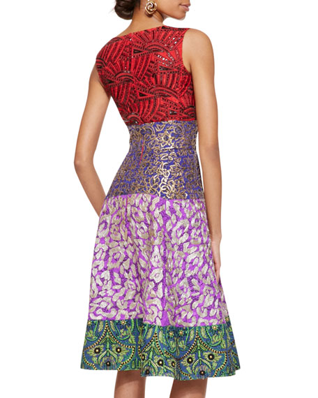 Multi-Print Cocktail Dress, Multicolor