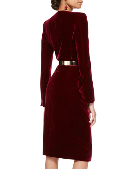 Long-Sleeve Velvet Crossover Dress