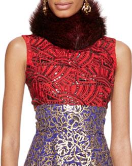 Oscar de la Renta Fur Collar, Ruby Red