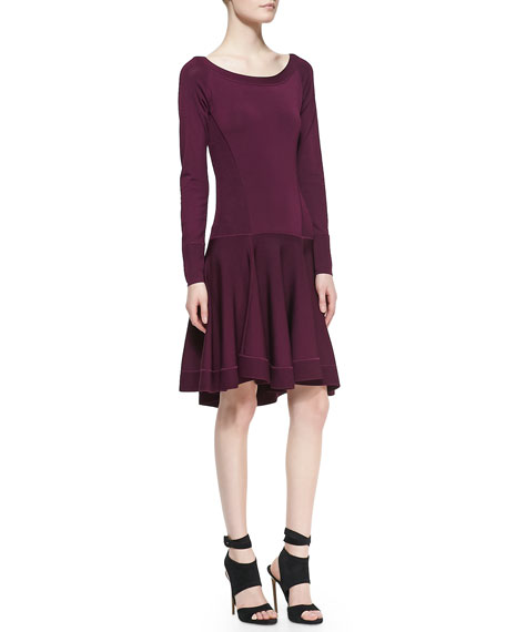 Long-Sleeve Fit-and-Flare Dress with Dropped Waist, Berry
