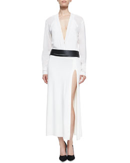 Donna Karan Long-Sleeve Dress with Belt, Ivory