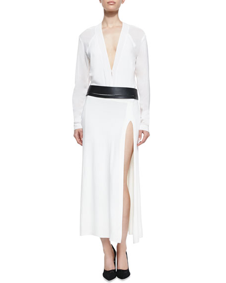 Long-Sleeve Dress with Belt, Ivory