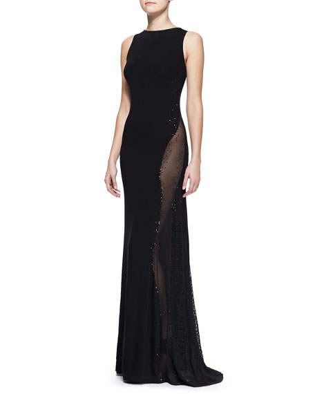 Sleeveless Embroidered Bateau Gown with Sheer Panel, Black