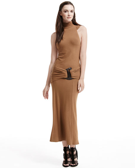 Sleeveless Turtleneck Jersey Dress, Brandy