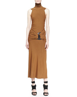 Donna Karan Sleeveless Turtleneck Jersey Dress, Brandy