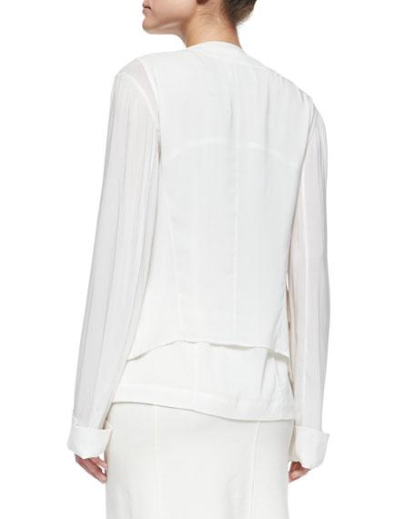 Collarless Wool Jacket