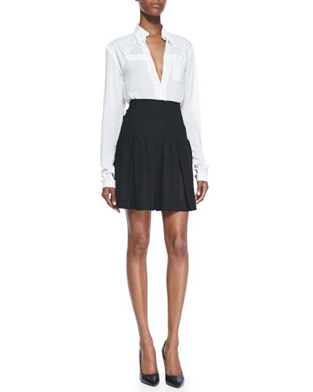 Pleated Skirt with Yoke, Black