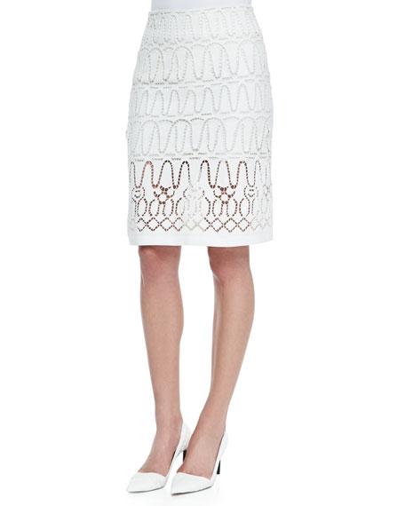 Eyelet A-Line Short Skirt