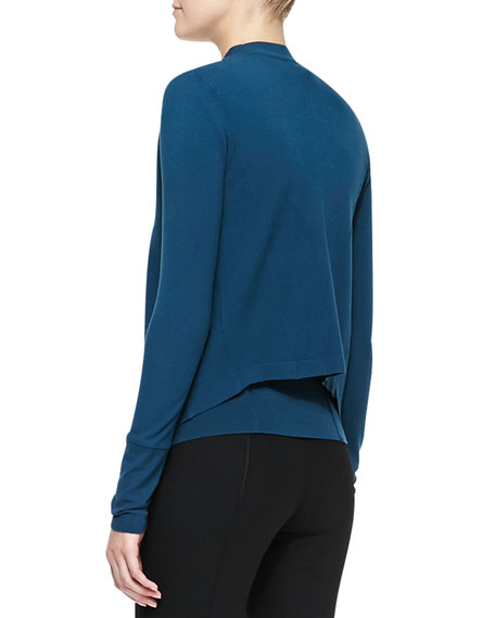 Long-Sleeve Drape-Front Jacket, Teal