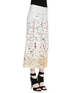 Donna Karan Embroidered Cutout Skirt, Ivory