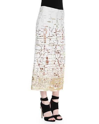 Donna Karan Embroidered Cutout Skirt, Ivory