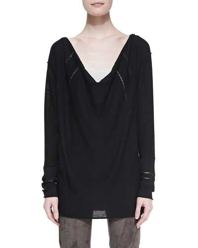 Donna Karan Long-Sleeve Draped Wool Top