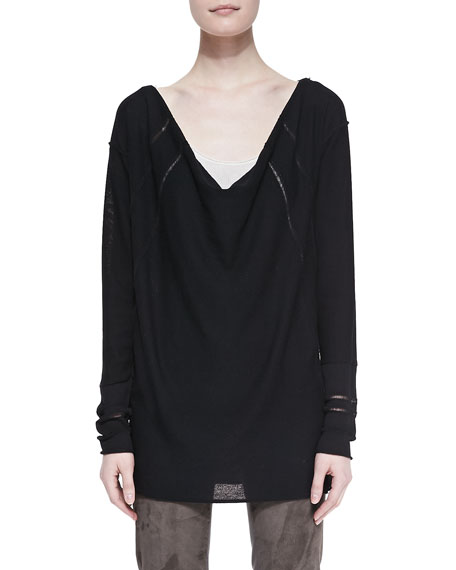 Long-Sleeve Draped Wool Top