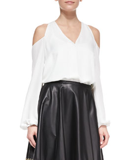 Tamara Mellon Cold-Shoulder Silk Top