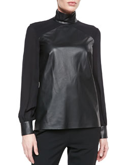 Tamara Mellon Long-Sleeve Silk and Leather Top