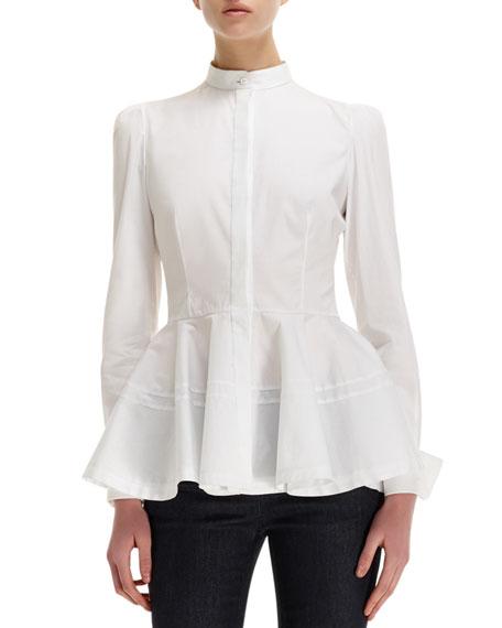 Pleated-Peplum Mandarin-Collar Cotton Blouse
