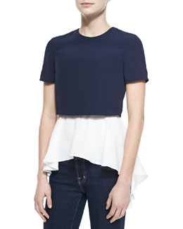 Alexander McQueen Layered Crop/Peplum Top, Blue/White
