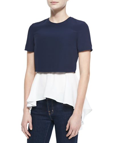 Alexander McQueen Layered Crop/Peplum Top, Blue/White