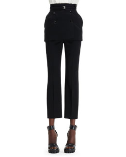 Alexander McQueen Skirt-Overlay Ankle Pants
