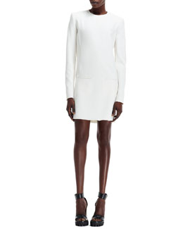 Alexander McQueen Leaf Crepe Long-Sleeve Dress with Pockets