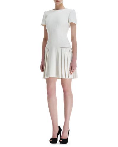 Leaf Crepe Side-Pleats Short-Sleeve Dress