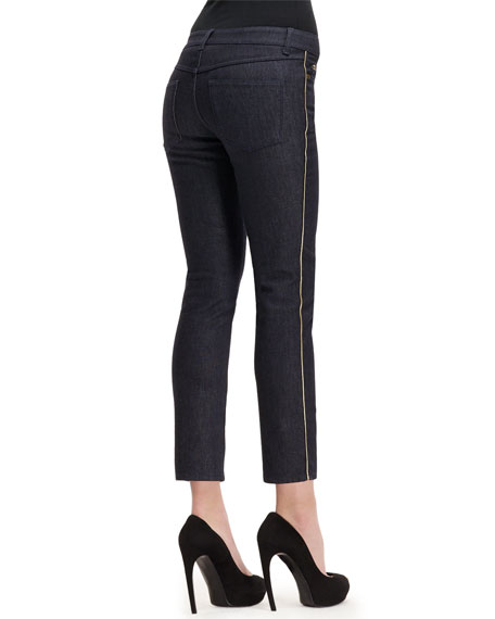 Side Contrast-Stripe Cropped Jeans