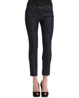 Alexander McQueen Side Contrast-Stripe Cropped Jeans