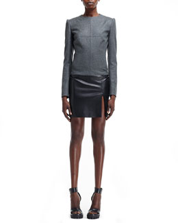 Alexander McQueen Flannel-Top Leather-Bottom Dress
