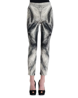 Alexander McQueen Fox Fur-Print Cropped-Ankle Pants